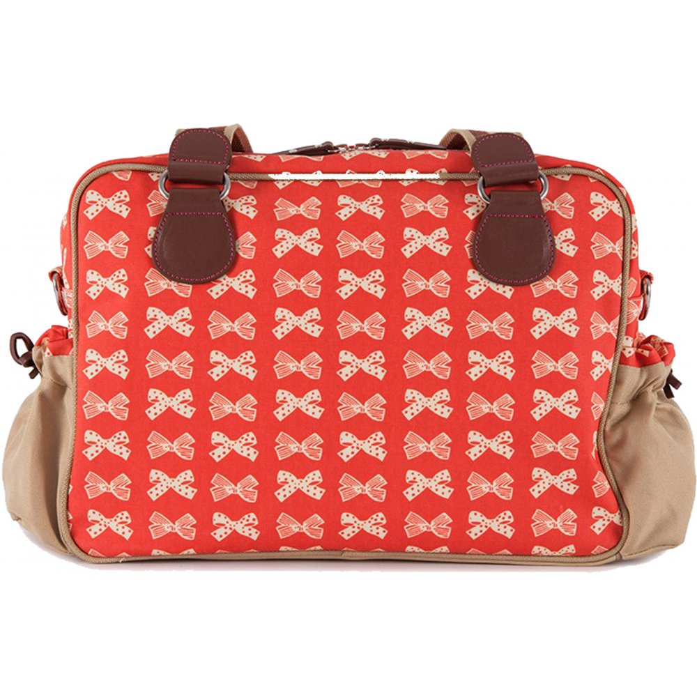 pink lining yummy mummy cream bows on red changing bag. Black Bedroom Furniture Sets. Home Design Ideas