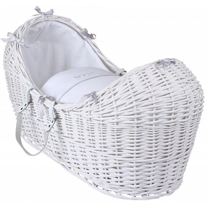 Clair de lune Silver Lining Noah Pod White Wicker Basket
