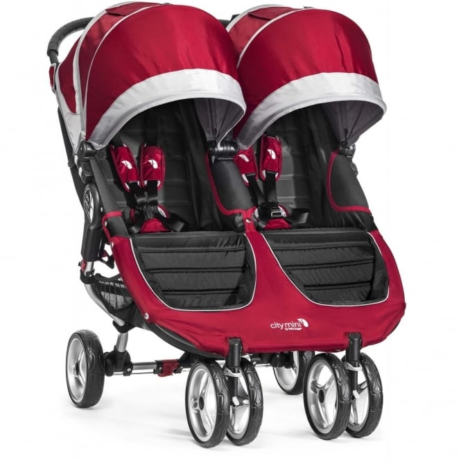 Baby Jogger City Mini Double Stroller Crimson with Raincover