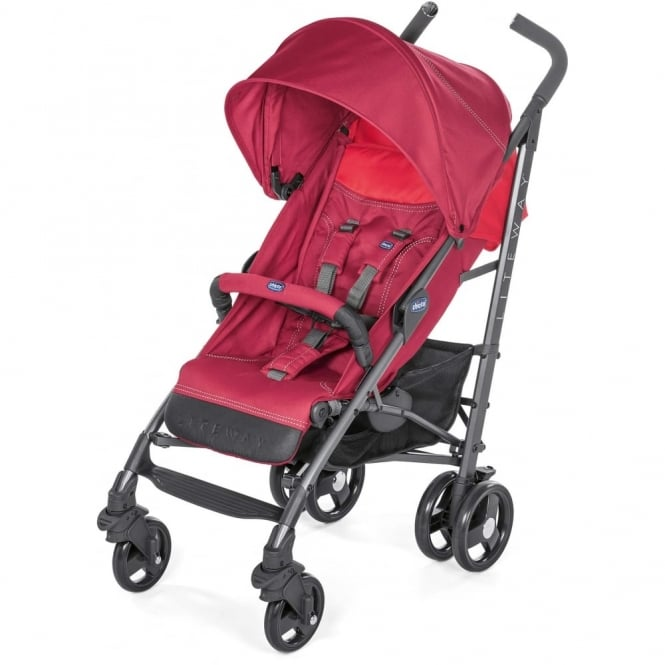 Chicco LiteWay 3 Stroller With Bumper Bar Berry Red