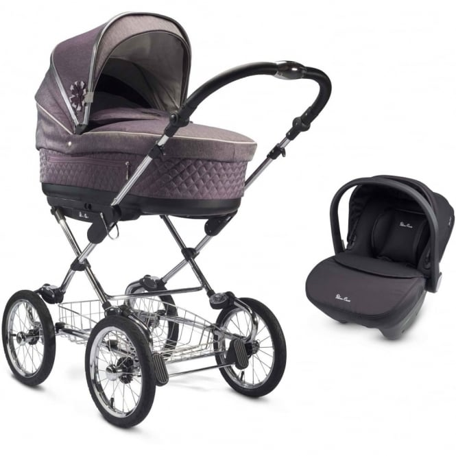 Silver Cross Sleepover 3 in 1 Pram Mulberry With Car Seat