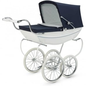 Silver Cross Heritage Oberon Dolls Pram Navy / White