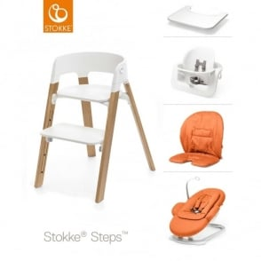 Stokke® Steps™ Oak Wood Chair, Bouncer, Baby Set, Cushion & Tray