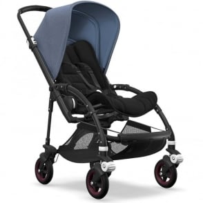 Bugaboo Bee5 Stroller - Black Chassis - Blue Melange Canopy
