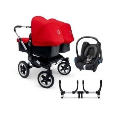 Bugaboo Donkey Twin Pushchair + Cabriofix Car Seat + Adapters