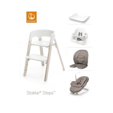 Stokke® Steps™ Beech Wood Chair, Bouncer, Baby Set, Cushion & Tray