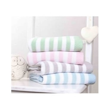Clair De Lune Candy Stripe Knitted Blanket