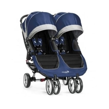 Baby Jogger City Mini Double Stroller Cobalt Grey with Raincover