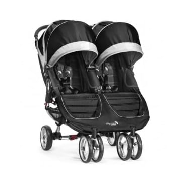 Baby Jogger City Mini Double Stroller Black with Raincover
