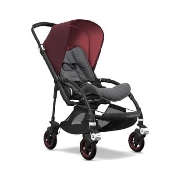 Bugaboo Bee5 Stroller - Black Chassis - Red Melange Canopy