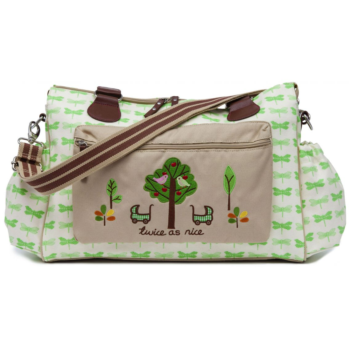 pink lining twice as nice green dragonflies twin changing bag. Black Bedroom Furniture Sets. Home Design Ideas