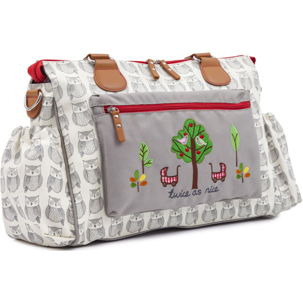 pink lining twice as nice wise owl twin changing bag. Black Bedroom Furniture Sets. Home Design Ideas
