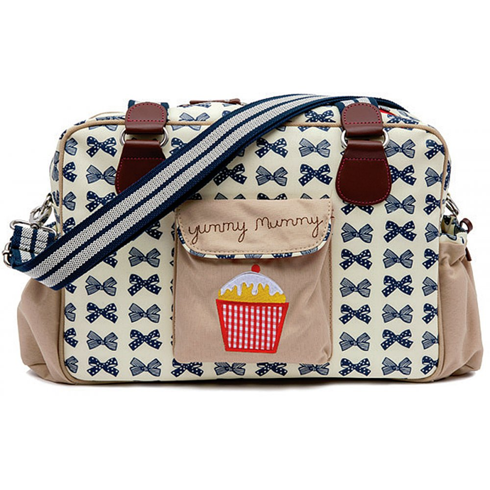 pink lining yummy mummy navy bows changing bag. Black Bedroom Furniture Sets. Home Design Ideas