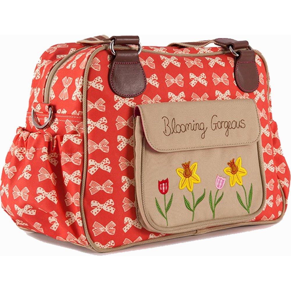 pink lining blooming gorgeous cream bows on red changing bag. Black Bedroom Furniture Sets. Home Design Ideas