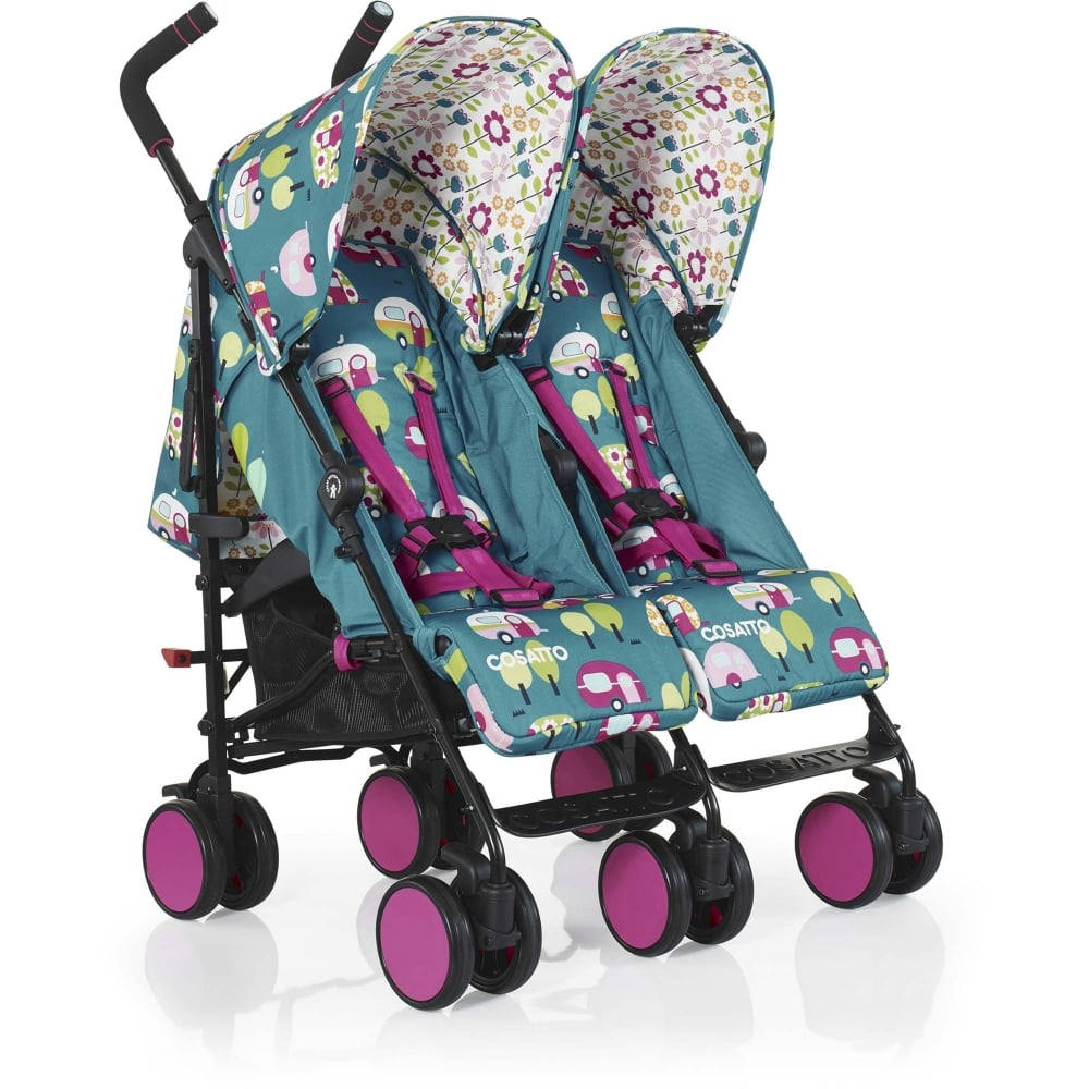cosatto supa dupa go twin stroller happy campers at w h watts pram shop. Black Bedroom Furniture Sets. Home Design Ideas