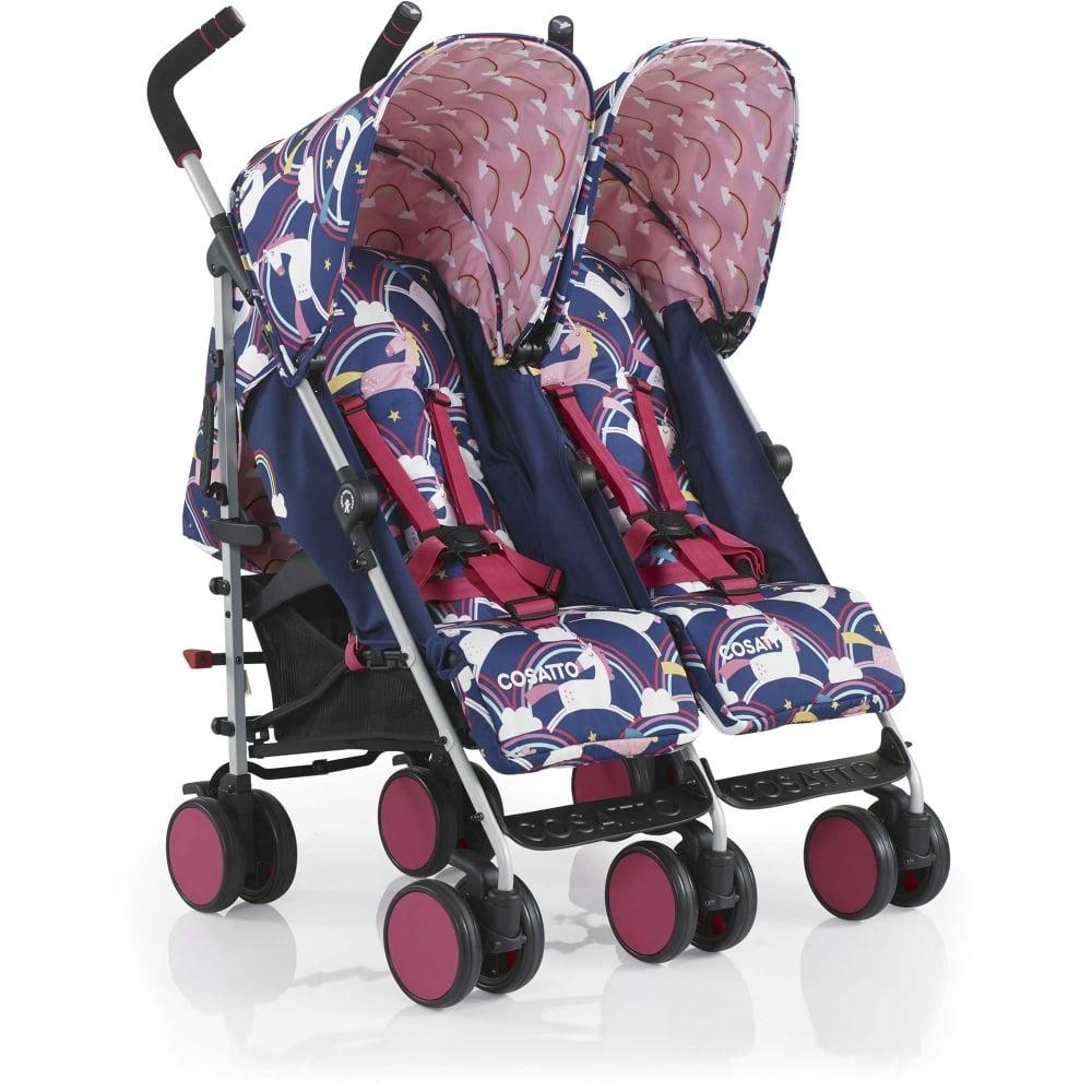 cosatto supa dupa go twin stroller magic unicorns at w h watts pram shop. Black Bedroom Furniture Sets. Home Design Ideas