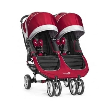 Baby Jogger City Mini Double Stroller Crimson with Raincover