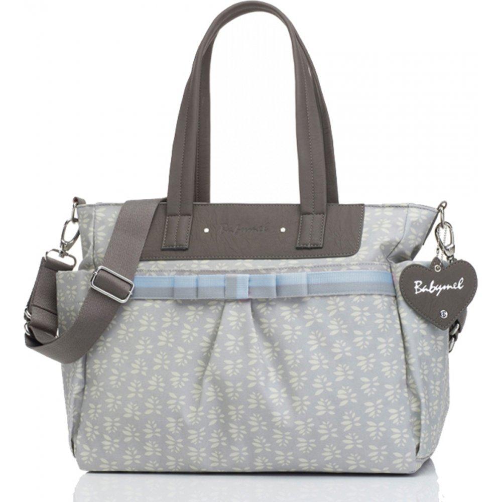 1e3f68bd4a2c Babymel Cara Grey Petals Blue Bow Changing Bag