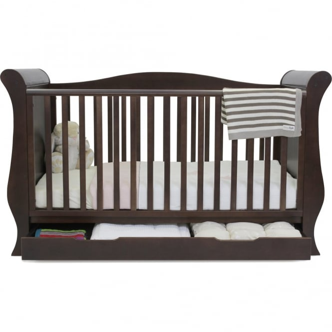 BabyStyle Hollie 2 Sleigh Curved Back Cotbed Walnut