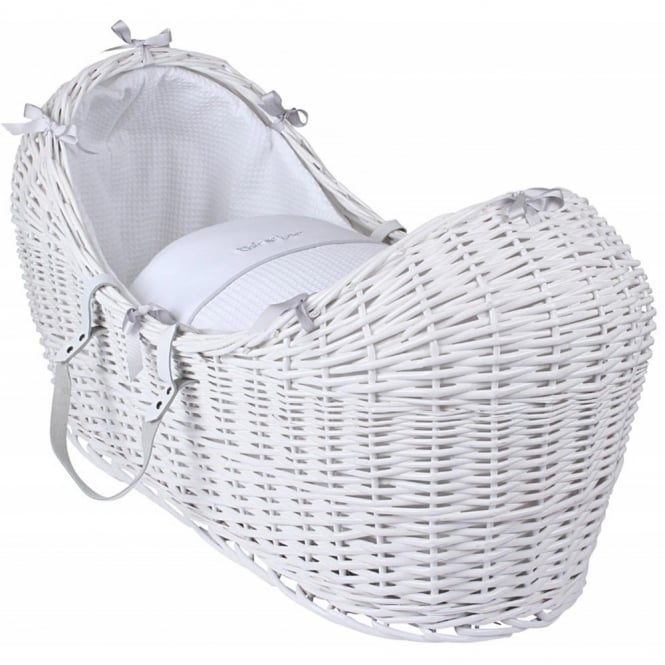 Clair de lune Silver Lining Noah Pod White Wicker Basket