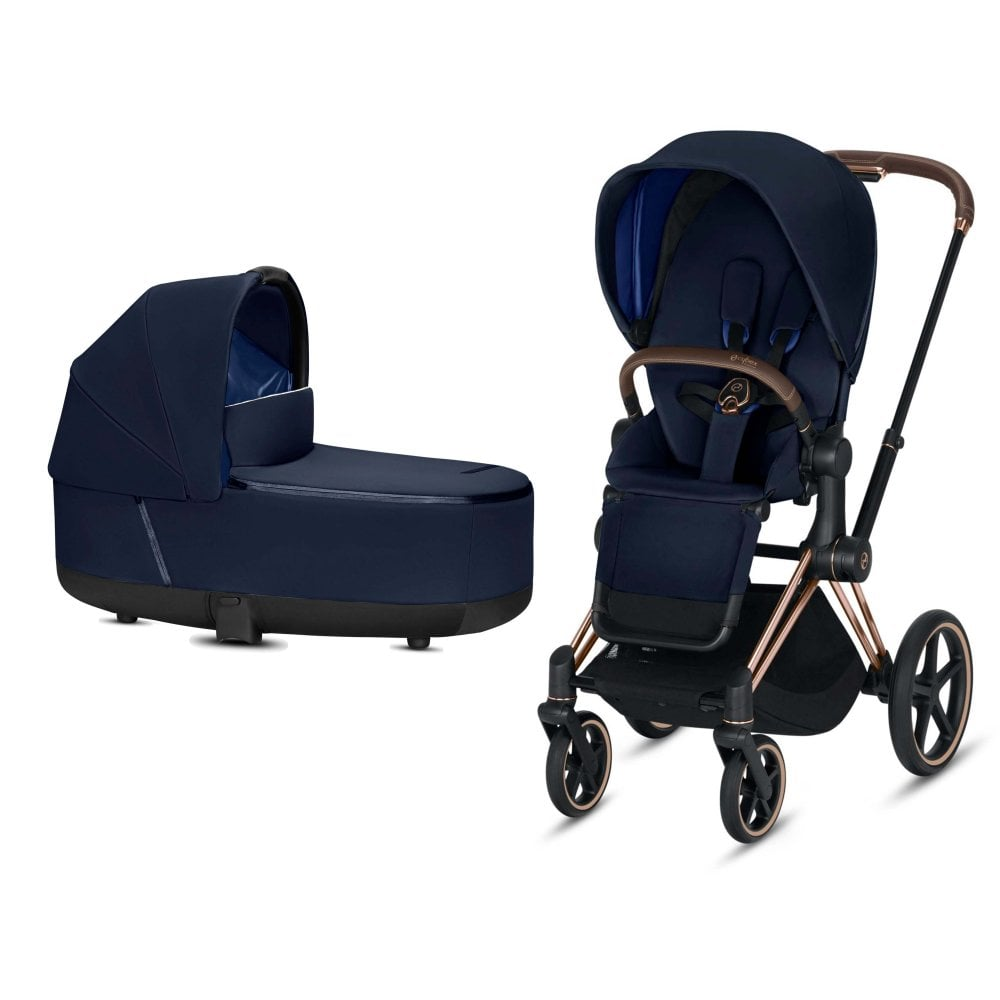 cybex priam lux 3in1 pram rose gold chassis indigo blue at. Black Bedroom Furniture Sets. Home Design Ideas