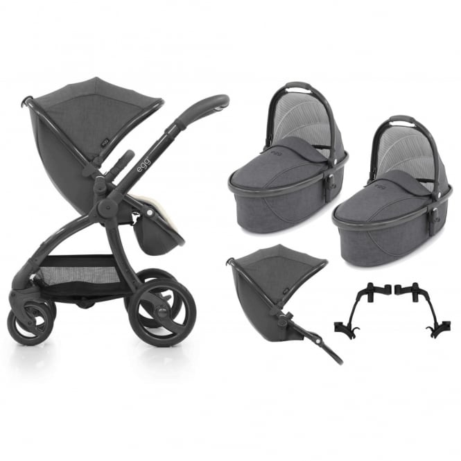 Egg Tandem Stroller with 2 Carrycots Quantum Grey