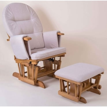 Little House Glider Chair & Footstool - Natural